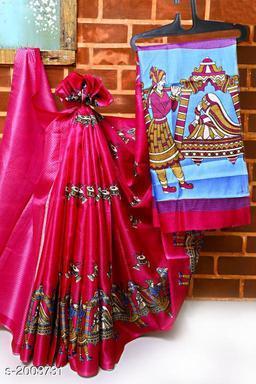 Flouncy Khadi Silk Printed Saree