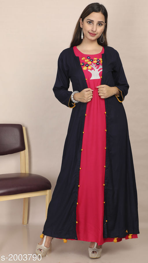 Kurtis & Kurtas Women's Embroidered Rayon Kurti Fabric: Kurti- Rayon, Jacket- Rayon Sleeves: 3/4 Sleeves Are Included Size: Kurti & Jacket- M - 38 in, L - 40 in, XL - 42 in Length: Kurti- Up To 53 in, Jacket- Up To 52 in Type: Stitched Description: It Has 1 Piece Of Kurti With 1 Piece Of Jacket Work: Embroidered Sizes Available: M, L, XL   Catalog Rating: ★4.3 (1196)  Catalog Name: Divine Pretty Rayon Womens Embroidered Kurtis Vol 1 CatalogID_264805 C74-SC1001 Code: 506-2003790-