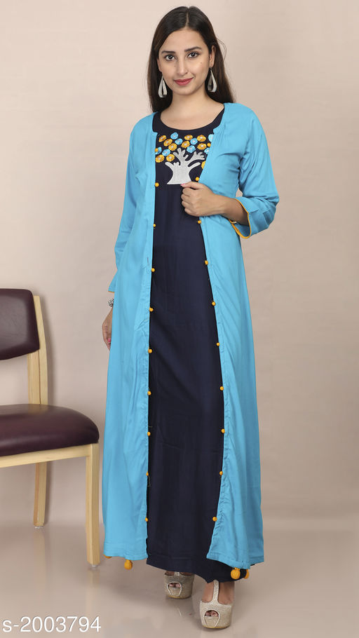 Kurtis & Kurtas Women's Embroidered Rayon Kurti Fabric: Kurti- Rayon, Jacket- Rayon Sleeves: 3/4 Sleeves Are Included Size: Kurti & Jacket- M - 38 in, L - 40 in, XL - 42 in Length: Kurti- Up To 53 in, Jacket- Up To 52 in Type: Stitched Description: It Has 1 Piece Of Kurti With 1 Piece Of Jacket Work: Embroidered Sizes Available: M, L, XL   Catalog Rating: ★4.3 (1196)  Catalog Name: Divine Pretty Rayon Womens Embroidered Kurtis Vol 1 CatalogID_264805 C74-SC1001 Code: 506-2003794-