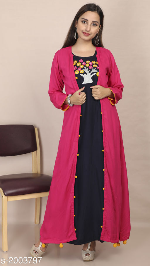 Kurtis & Kurtas Women's Embroidered Rayon Kurti Fabric: Kurti- Rayon, Jacket- Rayon Sleeves: 3/4 Sleeves Are Included Size: Kurti & Jacket- M - 38 in, L - 40 in, XL - 42 in Length: Kurti- Up To 53 in, Jacket- Up To 52 in Type: Stitched Description: It Has 1 Piece Of Kurti With 1 Piece Of Jacket Work: Embroidered Sizes Available: M, L, XL   Catalog Rating: ★4.3 (1196)  Catalog Name: Divine Pretty Rayon Womens Embroidered Kurtis Vol 1 CatalogID_264805 C74-SC1001 Code: 506-2003797-