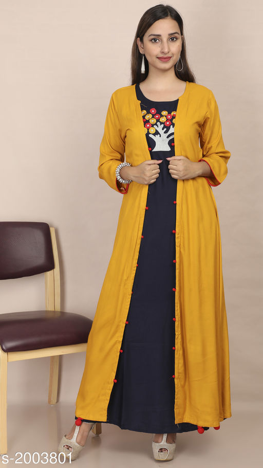 Kurtis & Kurtas Women's Embroidered Rayon Kurti Fabric: Kurti- Rayon, Jacket- Rayon Sleeves: 3/4 Sleeves Are Included Size: Kurti & Jacket- M - 38 in, L - 40 in, XL - 42 in Length: Kurti- Up To 53 in, Jacket- Up To 52 in Type: Stitched Description: It Has 1 Piece Of Kurti With 1 Piece Of Jacket Work: Embroidered Sizes Available: M, L, XL   Catalog Rating: ★4.3 (1196)  Catalog Name: Divine Pretty Rayon Womens Embroidered Kurtis Vol 1 CatalogID_264805 C74-SC1001 Code: 506-2003801-