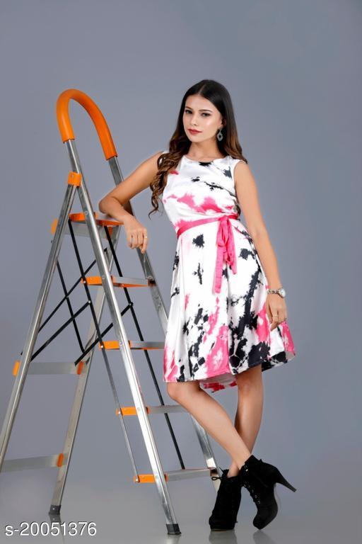 Women satin printed dress