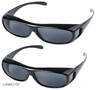 HD Vision Wraparounds sunglasses Black Pack of 2