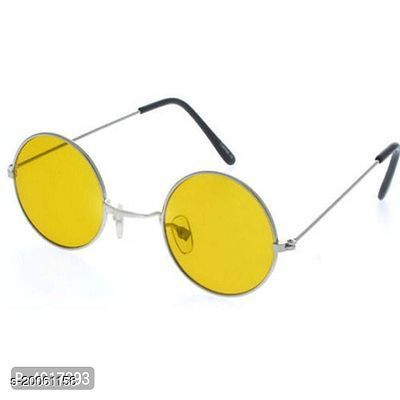 Gandhi Round Shape Retro Silver-Yellow Night Vision UV Protection Sunglasses Shades/Frame For Men & Women pack of 1