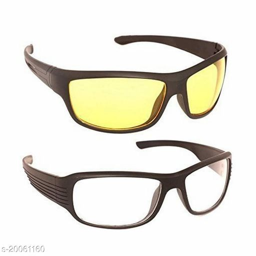 Day And Night Vision Goggles for Riding Bikes Combo Pack of Driving Sunglasses WHITE / YELLOW Pack of 2