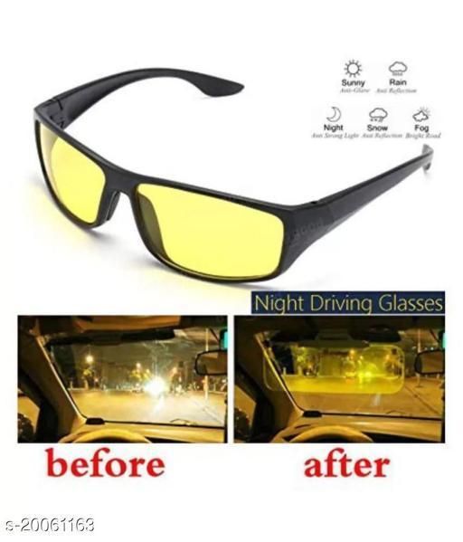 Night Vision Super Clear Helmet Glass Glasses For Biker Car & Bike Perfect Night Driving For Car & Bike PACK OF 1  Yellow