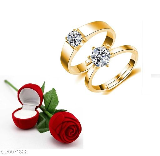 Adjustable Couple Rings Valentine Gifts Couple Rings for Girls and Boys Valentine Day Propose Your Girlfriend Brass Diamond Gold Plated Ring