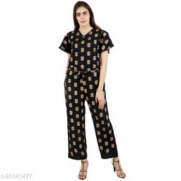 Pratyusha Printed Black Full Length Rregular Jumpsuit