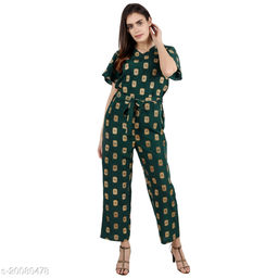 Pratyusha Printed Green Full Length Rregular Jumpsuit