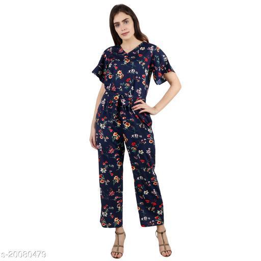 Pratyusha Printed Blue Full Length Rregular Jumpsuit