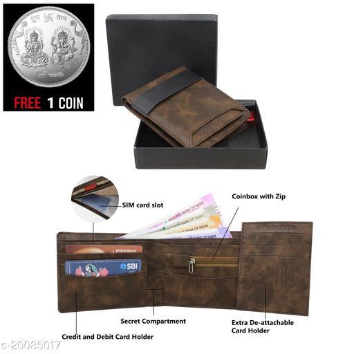 free silver coin  with fancy unique Men Wallet ML-WL-4 ( 1 Piece )