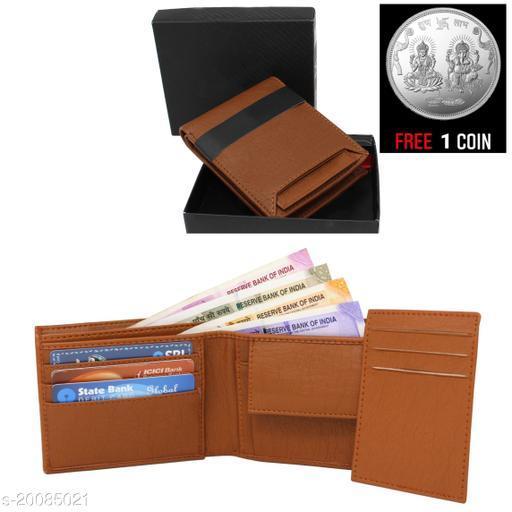 free silver coin with fancy  unique Men Wallet ML-WL-3 ( 1 Piece )