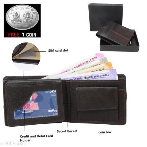 free silver coin with fancy unique Men Wallet ML-WL-7 (1 Piece )