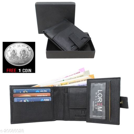 free silver coin with fancy unique Men Wallet ML-WL-8 ( 1 Piece )