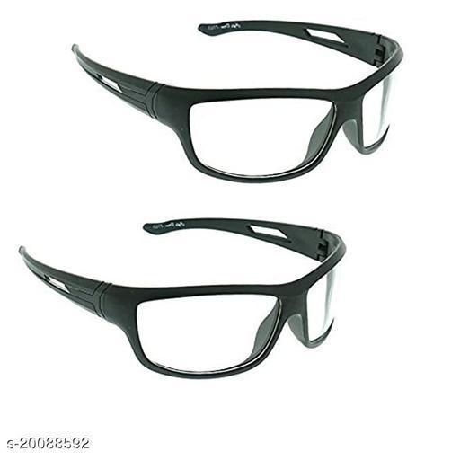 WHITE Unisex UV Protection Wrap Around Night Drive Sunglasses pack of 2