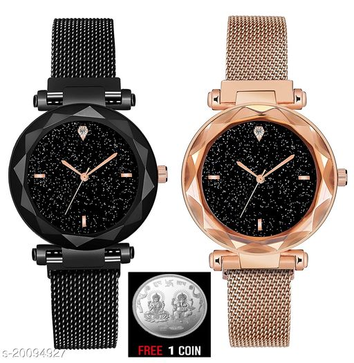 free silver coin with Black Round Diamond Dial with  Latest Generation Black & Gold Magnet Belt Analogue Watch for Women Pack of - 2