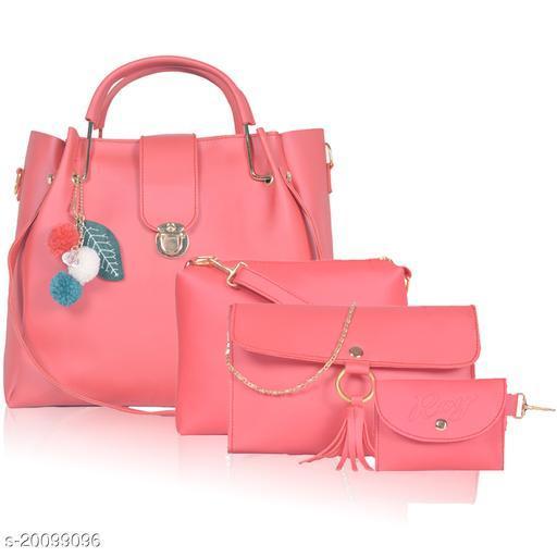 Trendy Women's Peach PU Messenger Bags