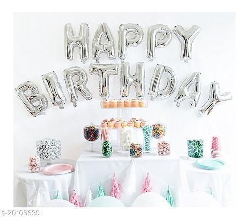 "Style Secrets Metallic Silver ""Happy Birthday"" Foil Balloons Pack"
