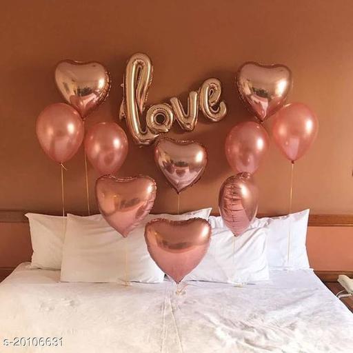 "Style Secrets Stylish "" LOVE "" Rose Gold Foil Balloon with 6 Metallic Rose Gold Foil Balloons and 10 Rose Gold Metallic Balloons [ Pack of 17Pcs ]"