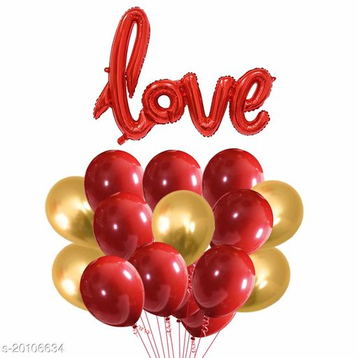 """Style Secrets Stylish """" LOVE """" Red Foil Balloon with 30 Metallic Red and Gold Balloons [ Pack of 31 Pcs ]"""