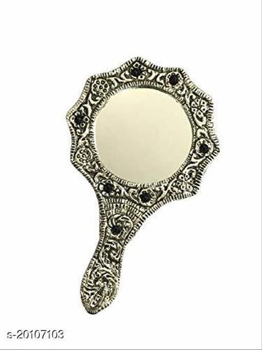 Decorative Round HandHeld Mirror (Black & Silver)