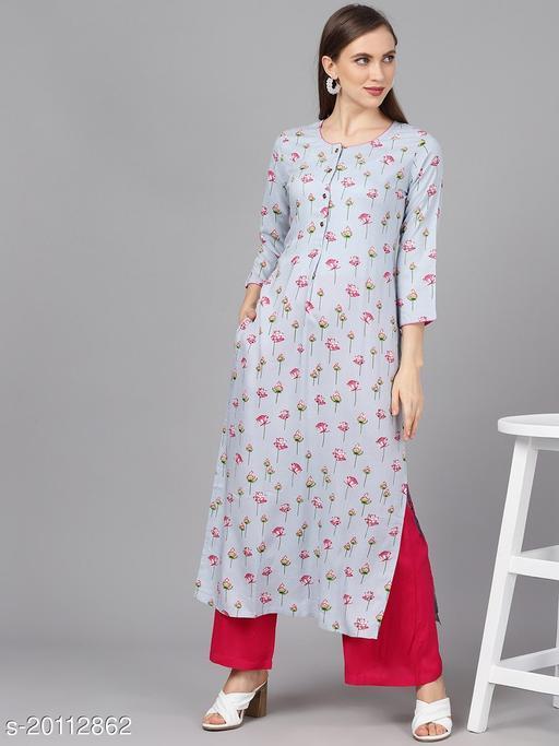 AKS Women Blue & Pink Floral Print Straight Kurta