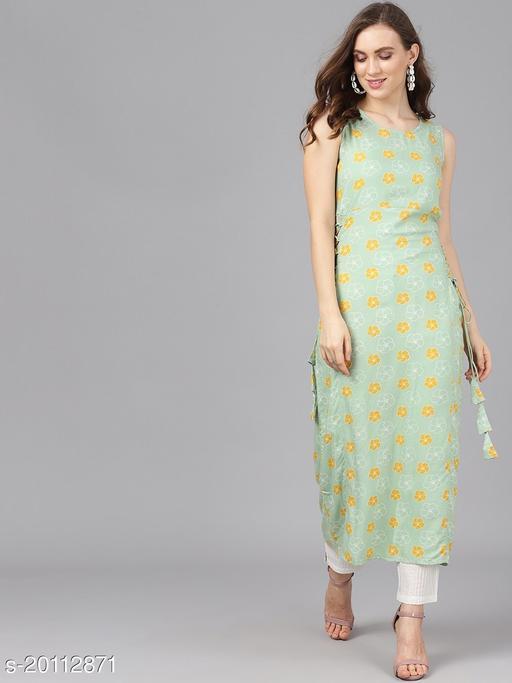 AKS Women Green & Yellow Printed Straight Kurta