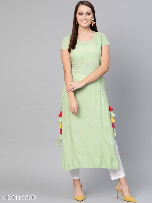 AKS Women Green Solid Straight Kurta
