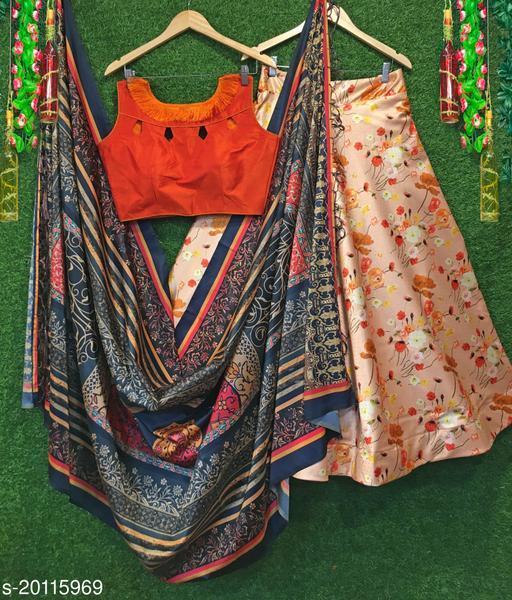 DIGITAL PRINT SHINY AND SOFT ZARI SATIN  SEMI STICHED LAHENGA WITH DUPATTA WITH BEAUTIFUL ZALAR