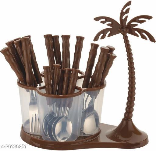 Flip Finz Tree Shape Cutlery Set (18 Spoons & 6 Forks) Plastic, Stainless Steel Cutlery Set