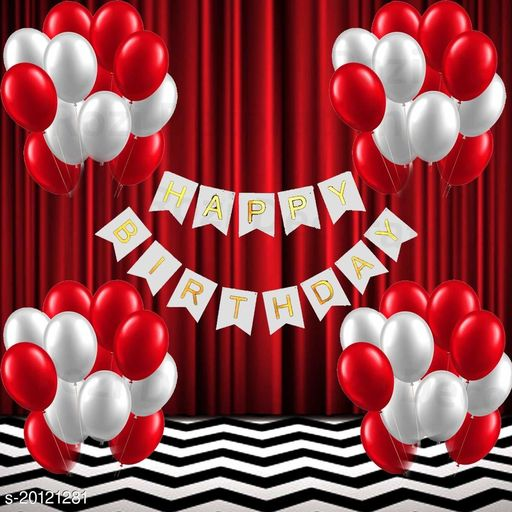 Style Secrets Birthday Decoration Pack - White Banner, Metallic Red and Metallic White Balloons [ PACK OF 51 Pcs ]