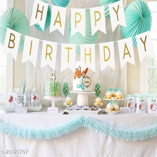 Style Secrets Golden Glittering Letters Happy Birthday Banner [ White ]