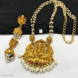 New design premium quality antique finish pearl mala ganesha necklace with earring.