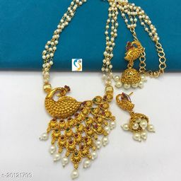 Designer exclusive quality matt finish peacock design superb design pearl mala necklace with earring