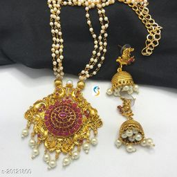 Designer premium quality antique finish fully ruby stone new superb design necklace with earring.