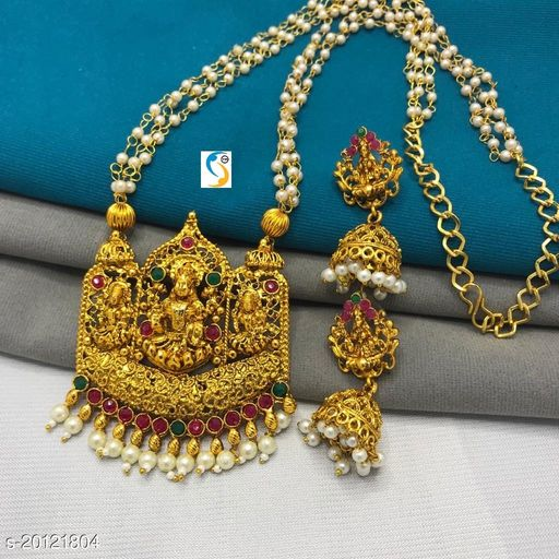 New design good quality square antique finish laxmi ji pearl mala necklace with earring.