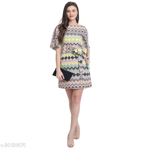 Monjira Women MultiColored Aztec Print Dress With Face Mask