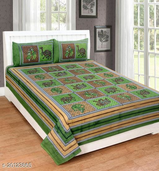 UniqChoice 120TC Cotton Double Bedsheet With 2 Pillow Cover(9_Green_89)