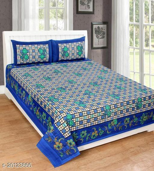 UniqChoice 120TC Cotton Double Bedsheet With 2 Pillow Cover(10_Blue _89)