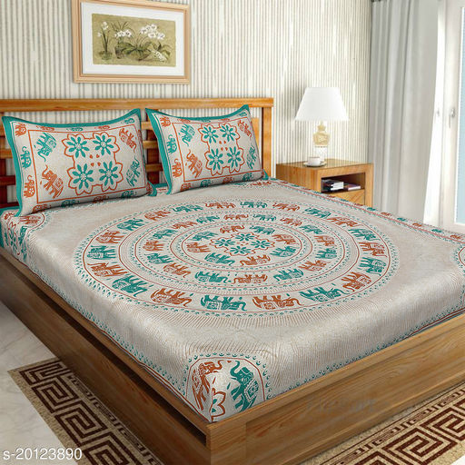 UniqChoice 120TC Cotton Double Bedsheet With 2 Pillow Cover(5_See-Green_89)