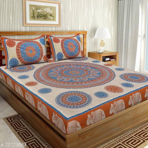 UniqChoice 120TC Cotton Double Bedsheet With 2 Pillow Cover(4_Brown_89)