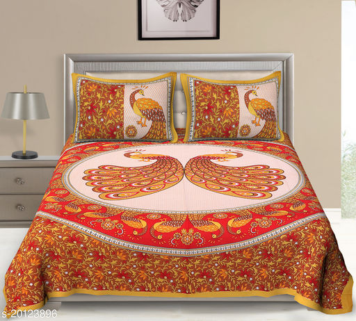 UniqChoice 120TC Cotton Double Bedsheet With 2 Pillow Cover(2_Yellow_89)