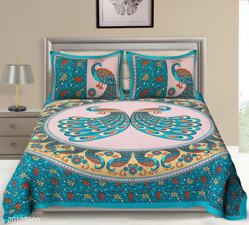 UniqChoice 120TC Cotton Double Bedsheet With 2 Pillow Cover(2_See-Green_89)