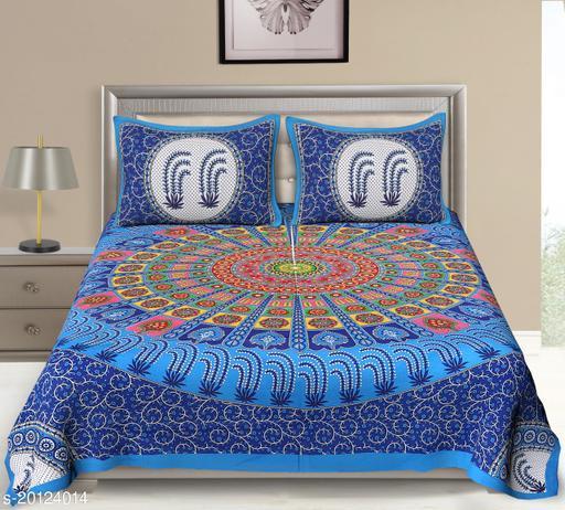 UniqChoice 120TC Cotton Double Bedsheet With 2 Pillow Cover(3_Blue _89)