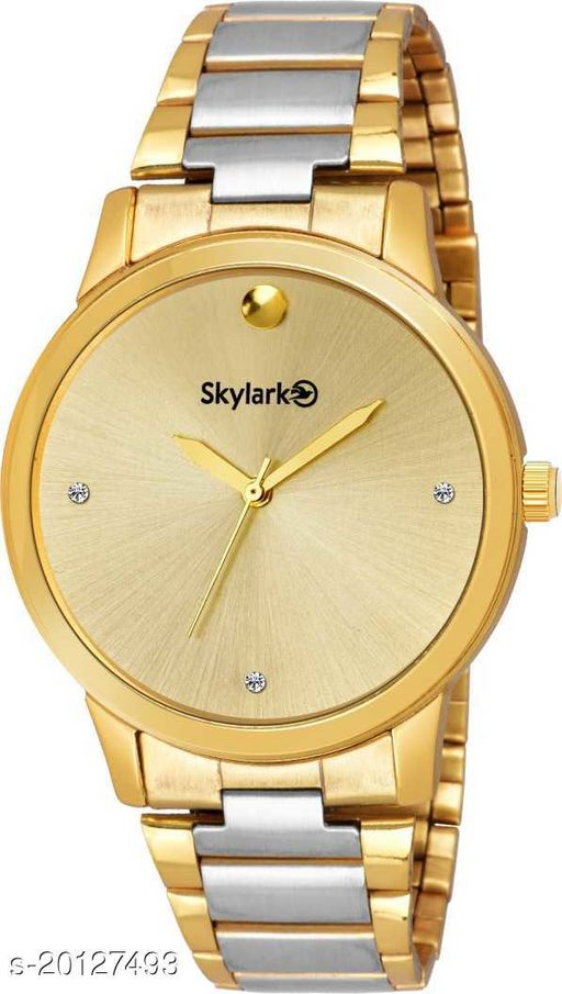Skylark Sky-684 Round Gold Dial Water Resistant Gold Color Stainless Steel Watch for Men/Boys Analog Watch - For Men