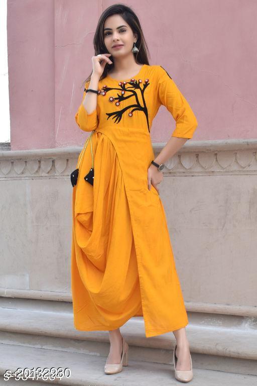 Women Rayon Anarkali Embroidered Yellow Kurti