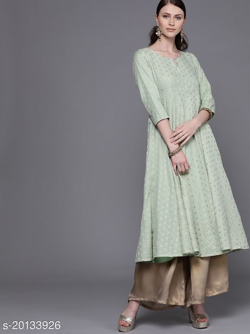 AKS Couture Women Green & Golden Woven Design Empire Anarkali Kurta
