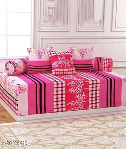 Anticca Home Stylish Polycotton 3D  Diwan Set 1 pc Bed Sheet 90*60 inch, 2 pc Bloster Cover Size 14*28 inch, 5 pc Cushion Cover Size 16*16 inch