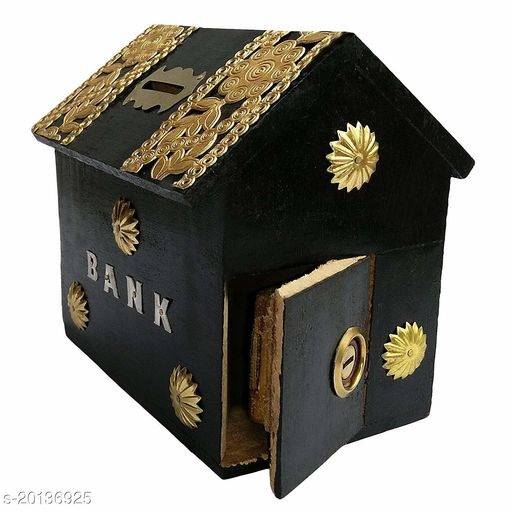 India Wood Mart Wooden Hut Shaped Wooden Money Box with Lock Piggy Bank Coin Box Children Gifts (Black)