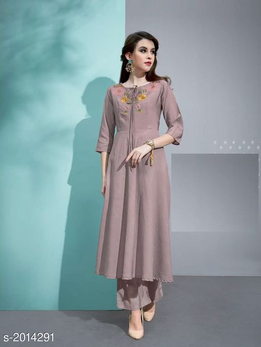 Kurta Sets Designer Pure Cotton Silk Kurta Set  *Fabric* Kurti - Pure Cotton Silk, Inner - Cotton, Palazzo - Pure Cotton Silk  *Sleeves* 3/4 Sleeves Are Included  *Size* Kurti - M - 38 in, L - 40 in, XL - 42 in, Palazzo - M - 30 in, L - 32 in, XL - 34 in  *Length* Kurti - Up To 45 in, Palazzo - Up To 40 in  *Type* Stitched  *Description* It Has 1 Piece Of Kurti with 1 Piece Of Palazzo  *Work* Kurti - Embroidery, Palazzo  *Sizes Available* L   Catalog Rating: ★3.4 (20) Supplier Rating: ★3.8 (46) SKU: 2 Free shipping is available for this item. Pkt. Weight Range: 500  Catalog Name: Vaarahi Designer Pure Cotton Silk Kurta Sets Vol 1 - JV_DESIGNER Code: 509-2014291--